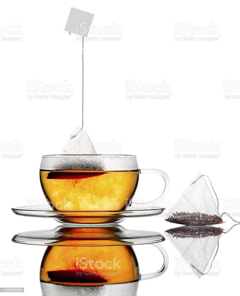 Glass tea with bag. stock photo