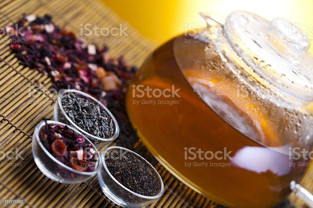 Glass teapot of tea stock photo