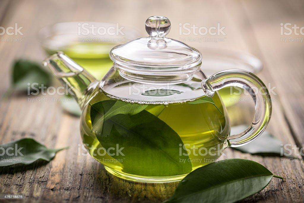 Glass teapot stock photo
