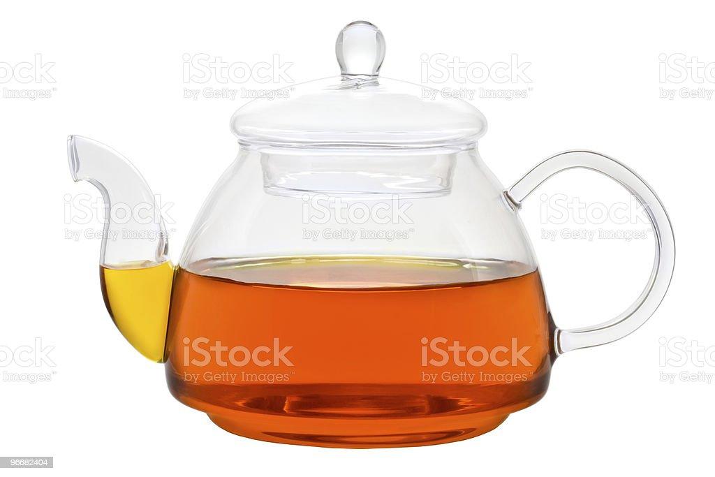 Glass teapot with tea royalty-free stock photo