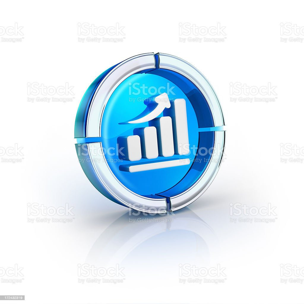 glass transparent icon of business chart Symbol royalty-free stock photo