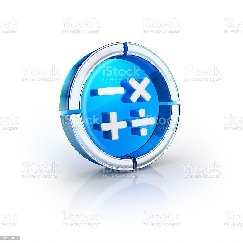 glass transparent icon of calculator math Symbol stock photo