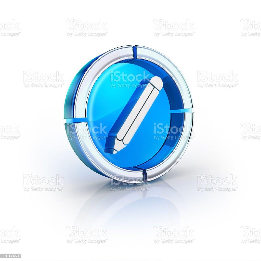 glass transparent icon of editor pencil Symbol stock photo