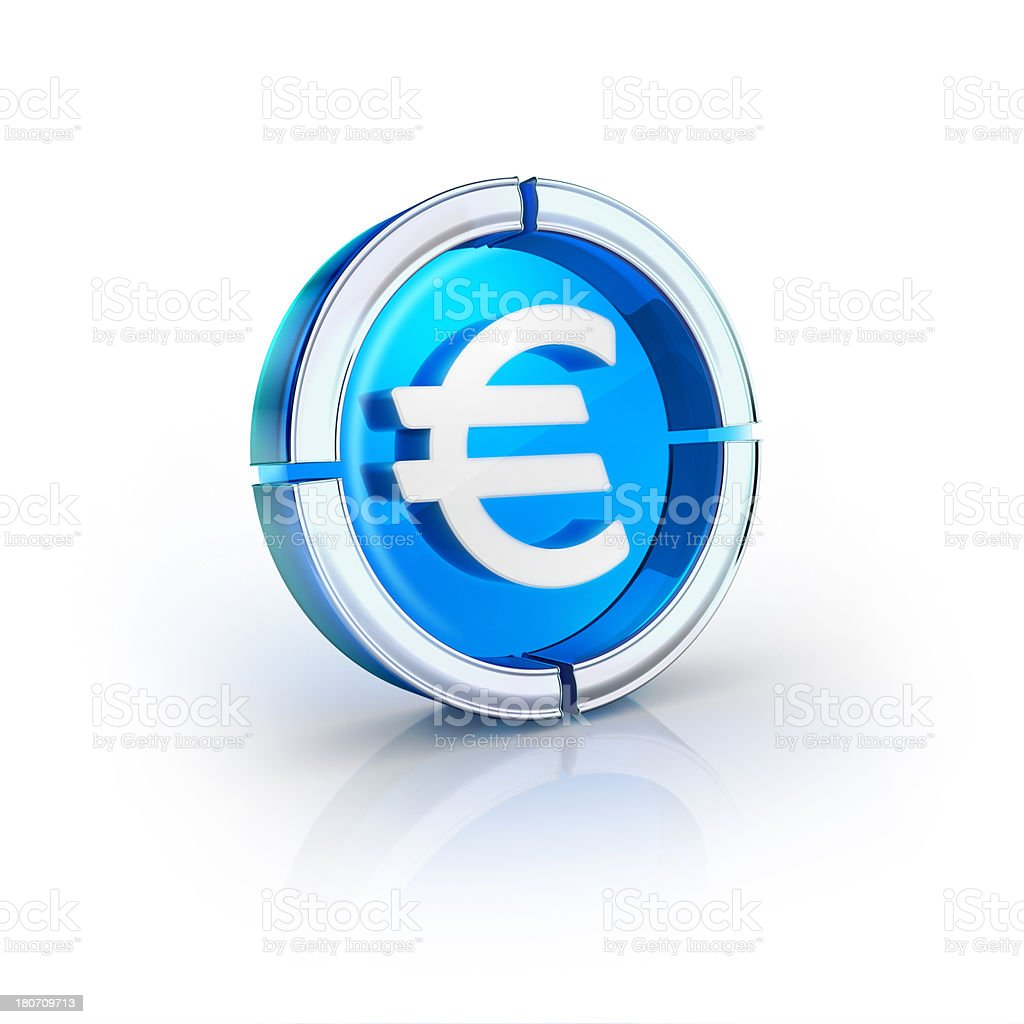 glass transparent icon of euro currency Symbol royalty-free stock photo