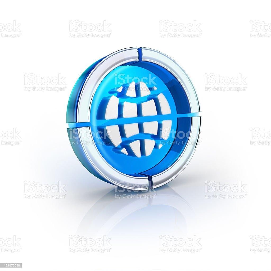 glass transparent icon of globe world Symbol stock photo