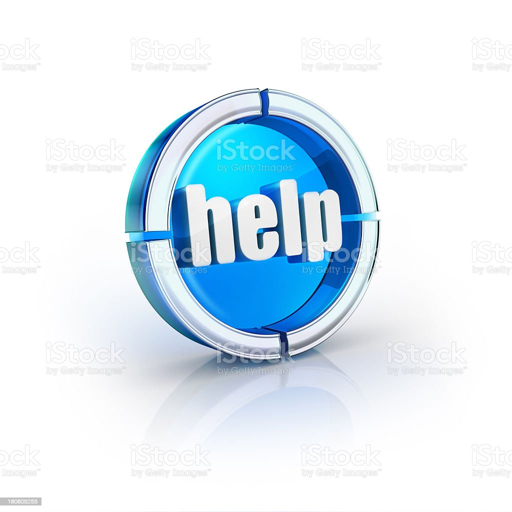 glass transparent icon of help word stock photo