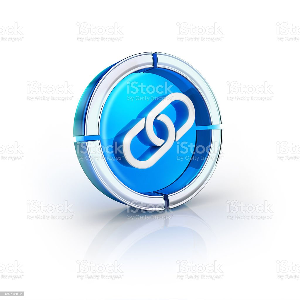 glass transparent icon of hyper link Symbol stock photo
