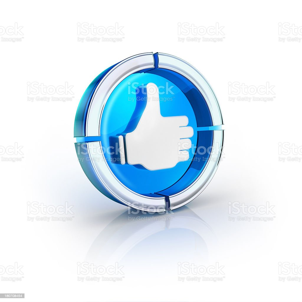 glass transparent icon of Like or Thumbs Up Symbol royalty-free stock photo
