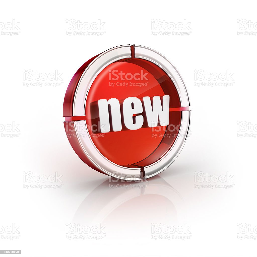 glass transparent icon of new word stock photo