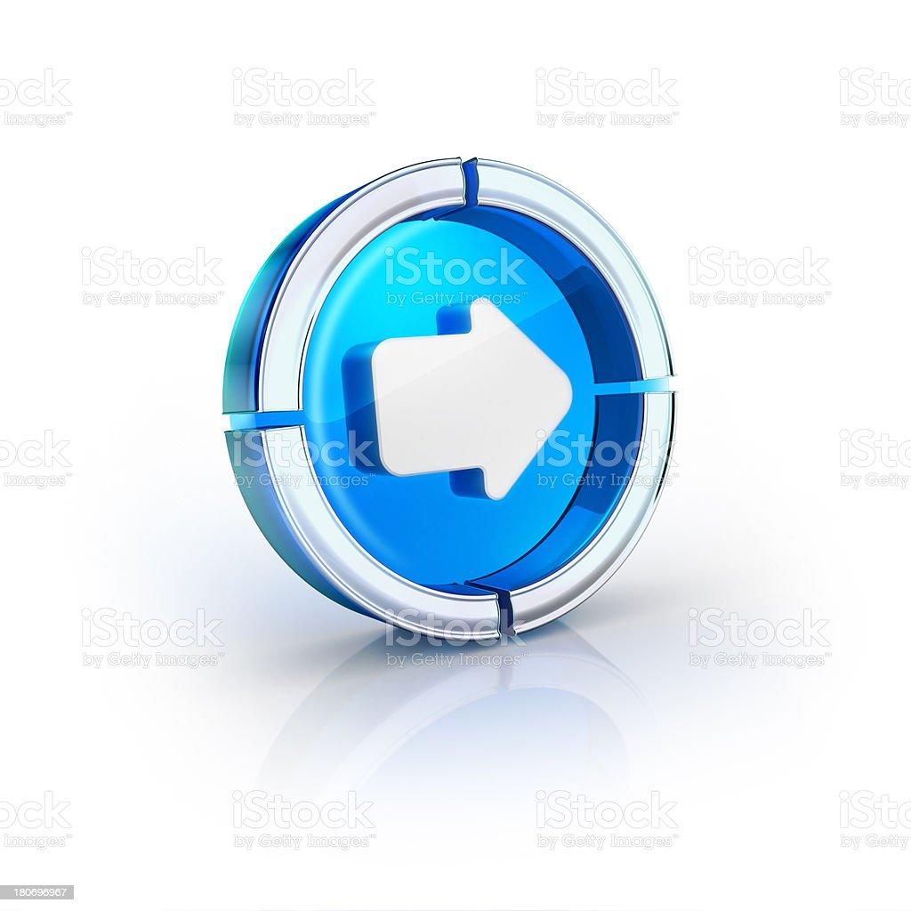 glass transparent icon of next or continue arrow Symbol stock photo