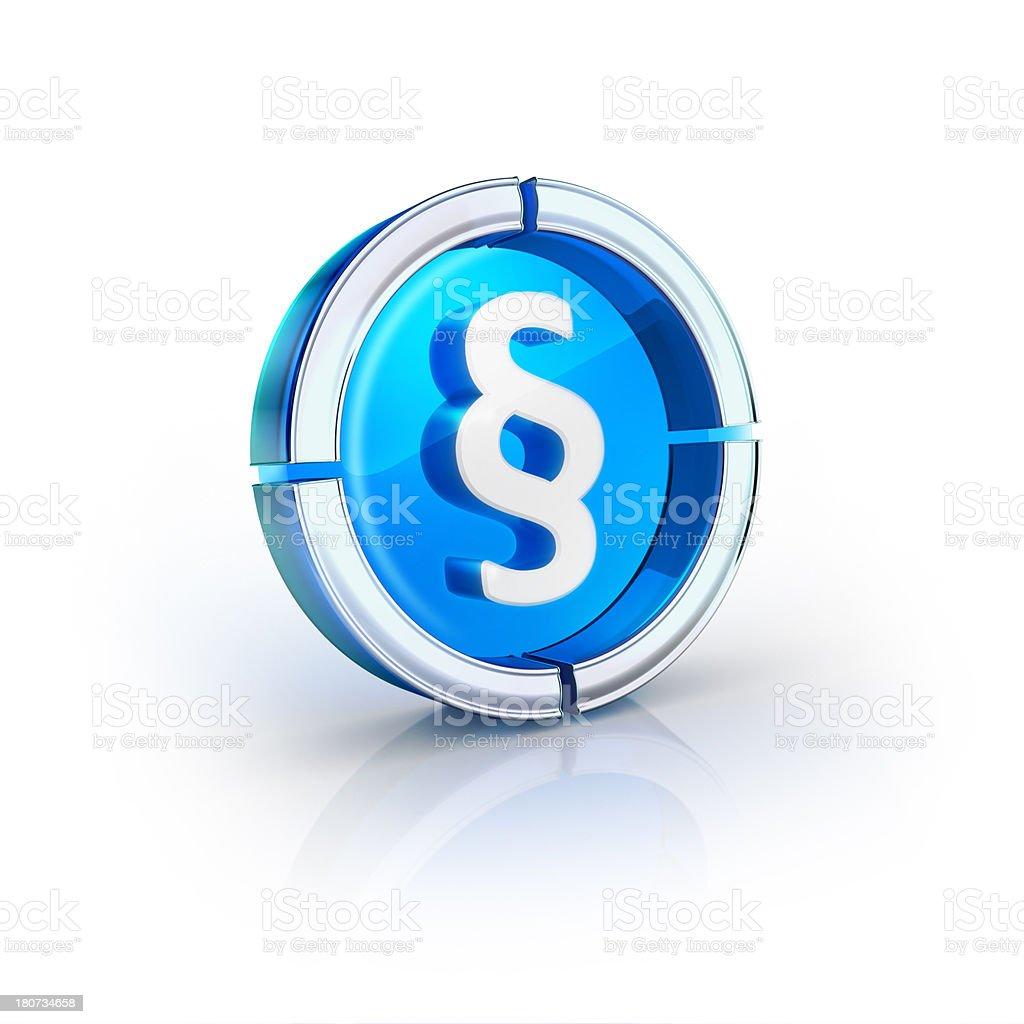 glass transparent icon of paragraph Symbol stock photo