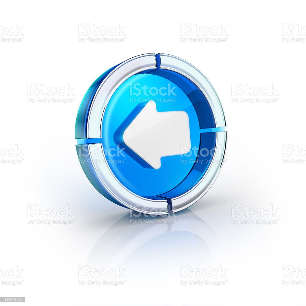 glass transparent icon of Previous or back arrow Symbol stock photo