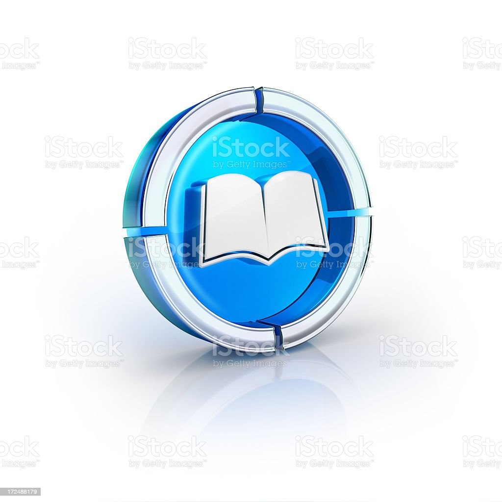 glass transparent icon of reading book Symbol stock photo