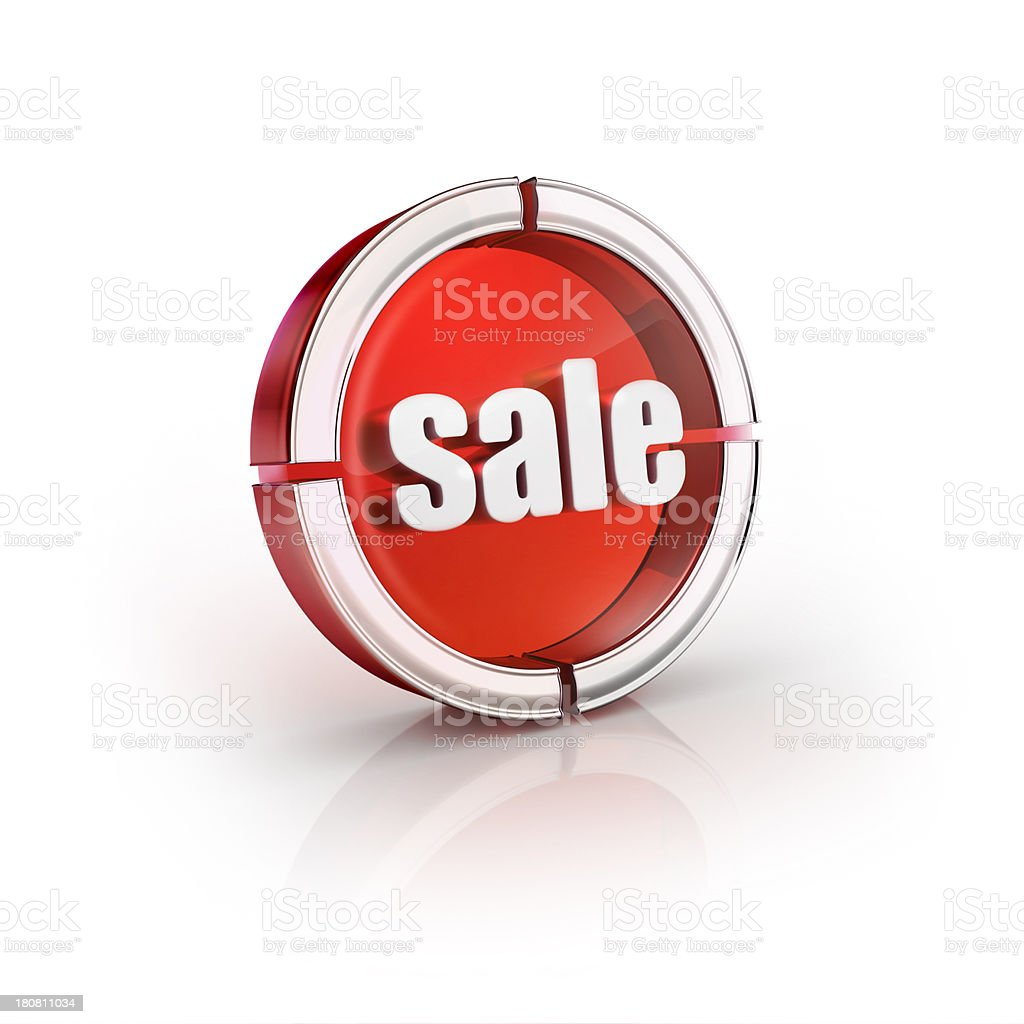 glass transparent icon of sale Word stock photo