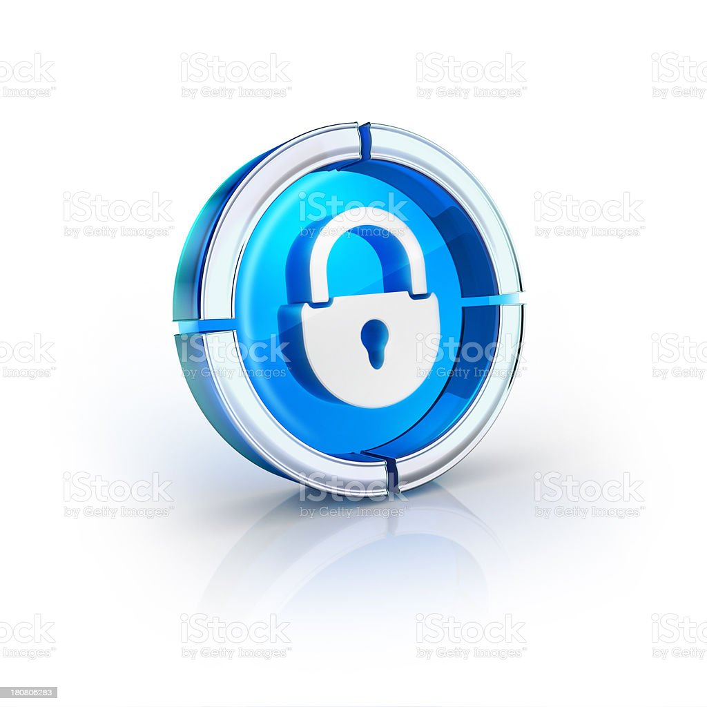 glass transparent icon of security lock Symbol royalty-free stock photo