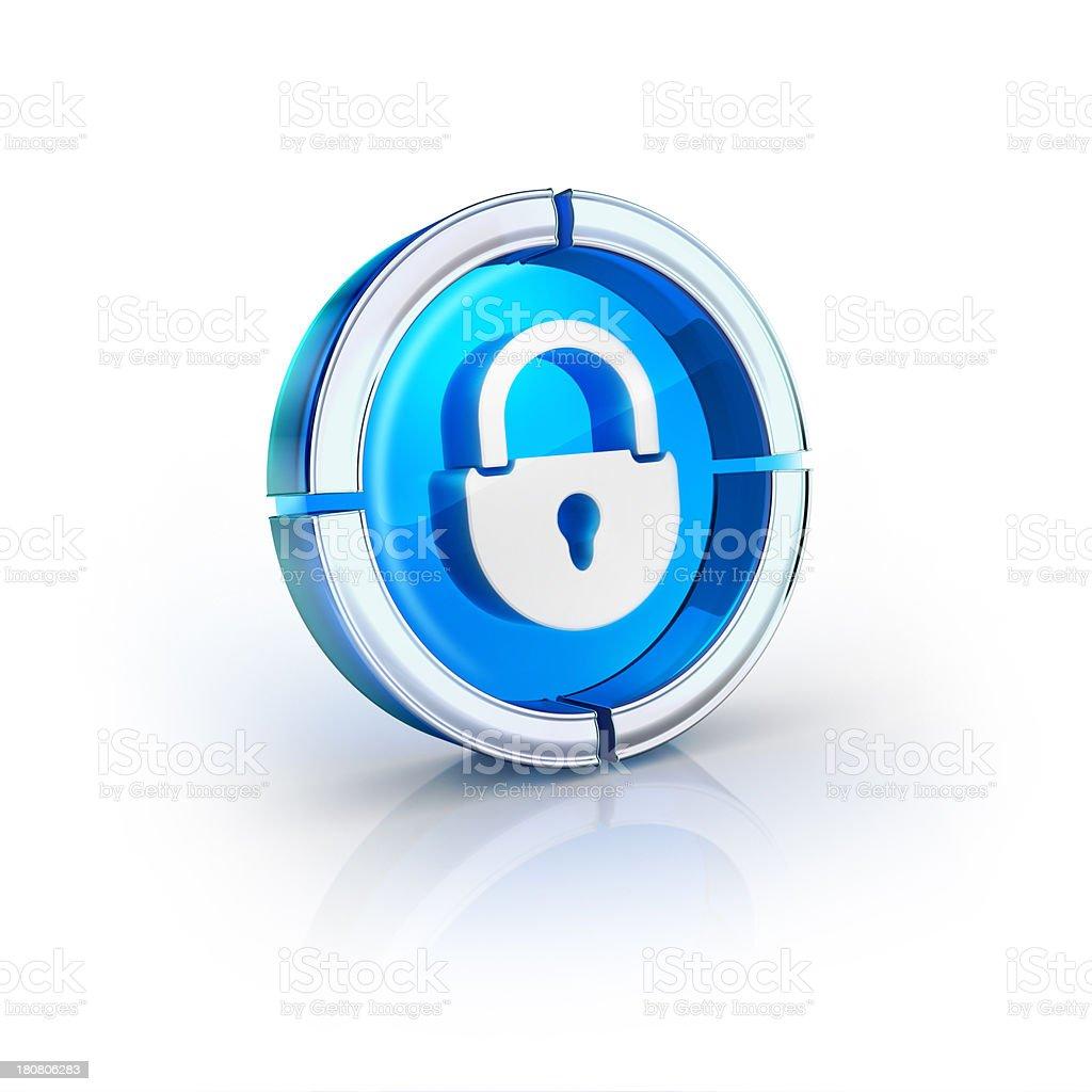 glass transparent icon of security lock Symbol stock photo