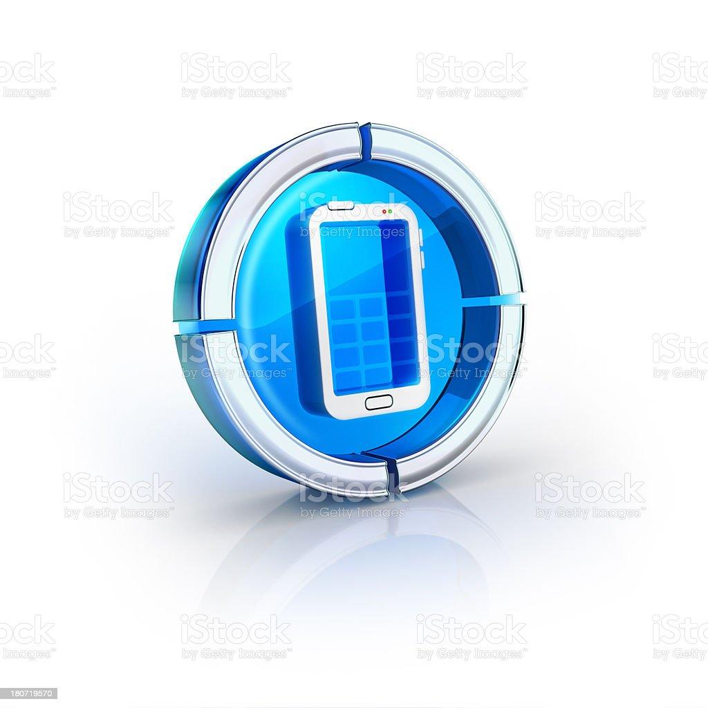 glass transparent icon of smartphone Symbol stock photo