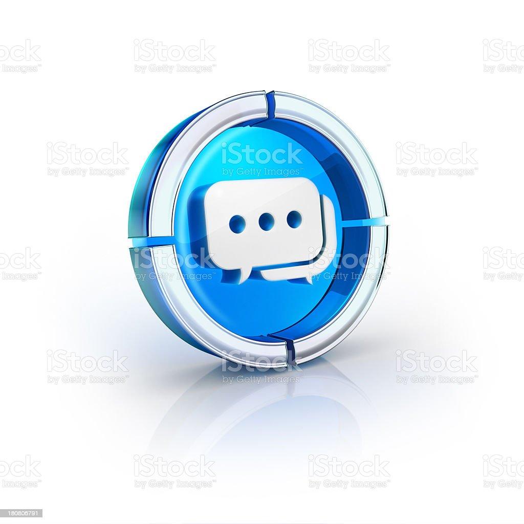 glass transparent icon of Speech Bubble Symbol stock photo