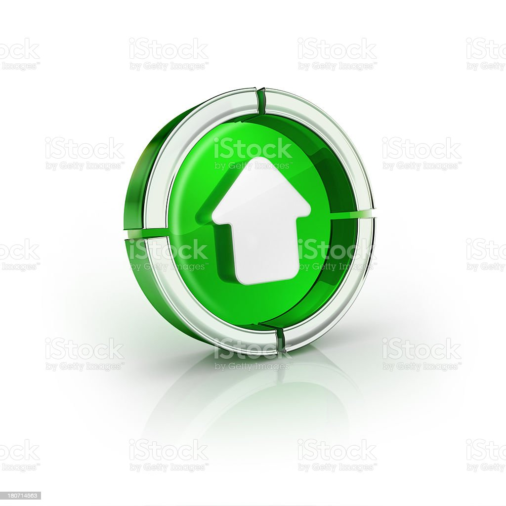 glass transparent icon of up arrow Symbol royalty-free stock photo