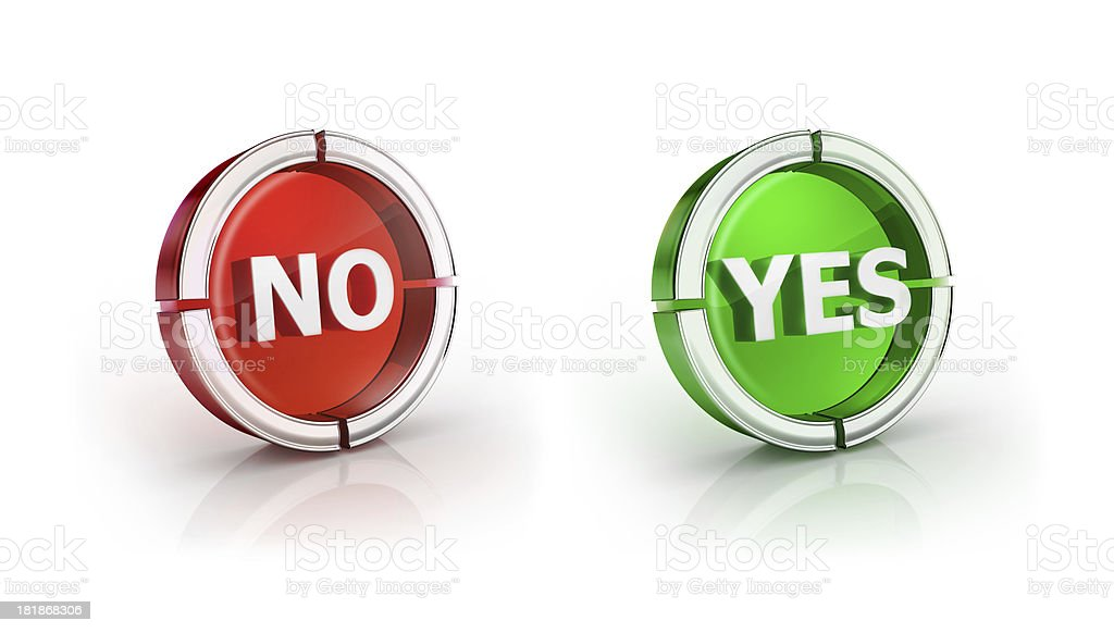 glass transparent icon of yes and no Symbol stock photo