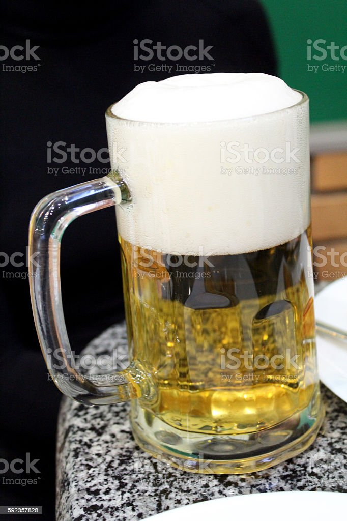 Glass transparent with beer stock photo
