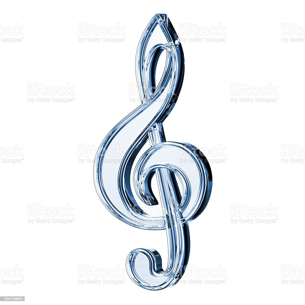 Glass Treble Clef stock photo