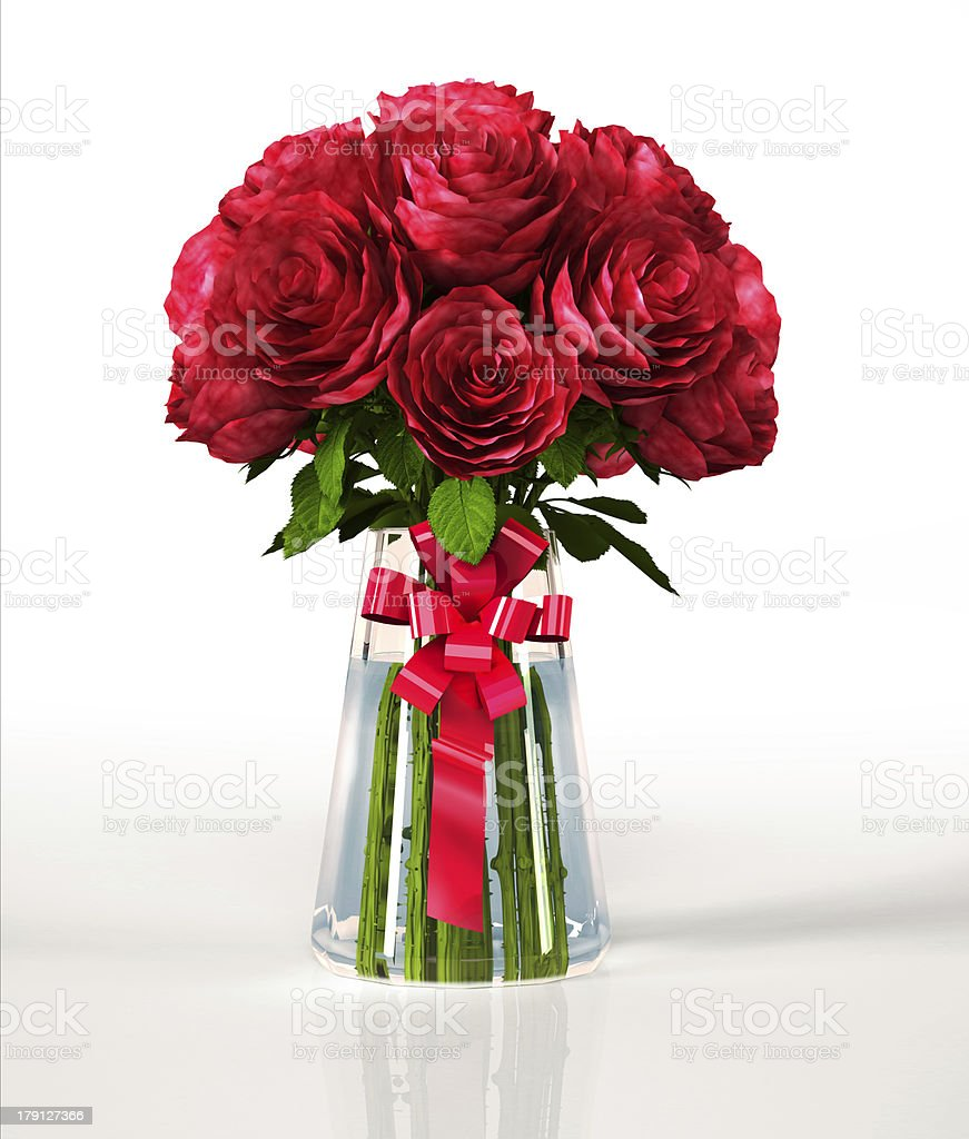 Glass vase full of big red roses, on white surface. royalty-free stock photo