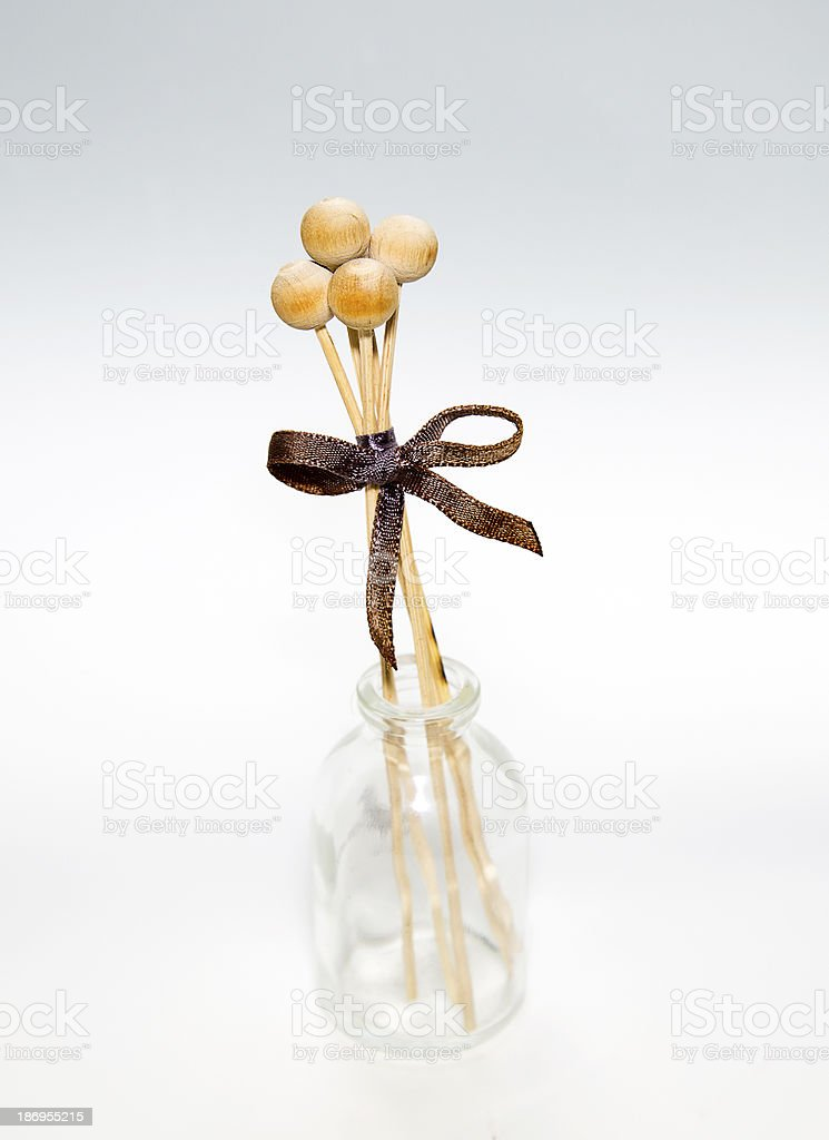 Glass Vase with Wood Ball royalty-free stock photo