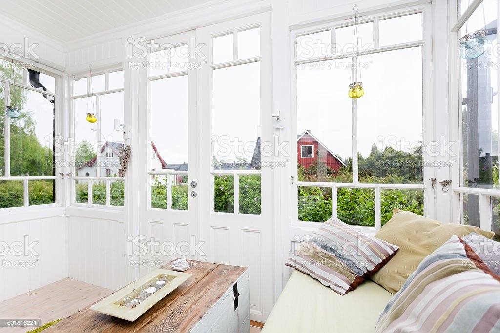glass veranda stock photo