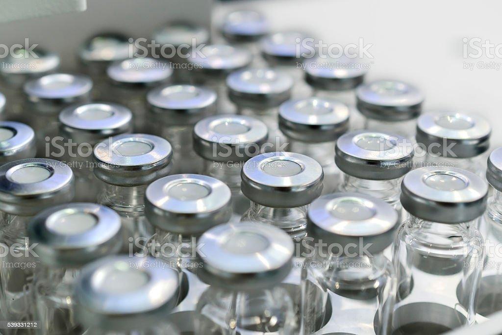 Glass vials for liquid samples. stock photo