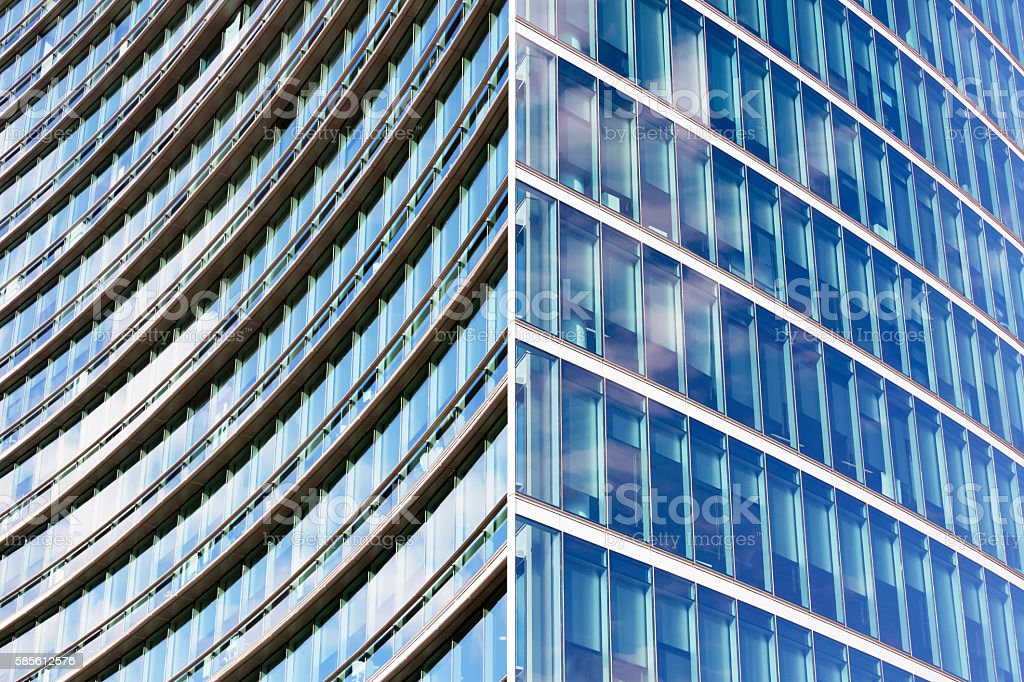 Glass wall of skyscraper, abstract background with copy space stock photo