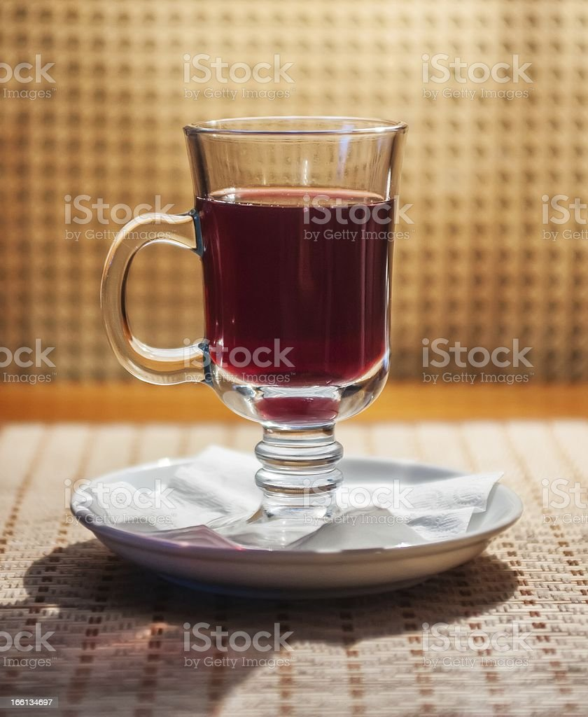 glass whith drink on table in restaurant royalty-free stock photo