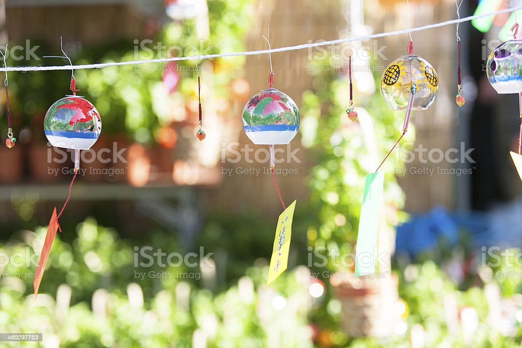 Glass wind bell stock photo