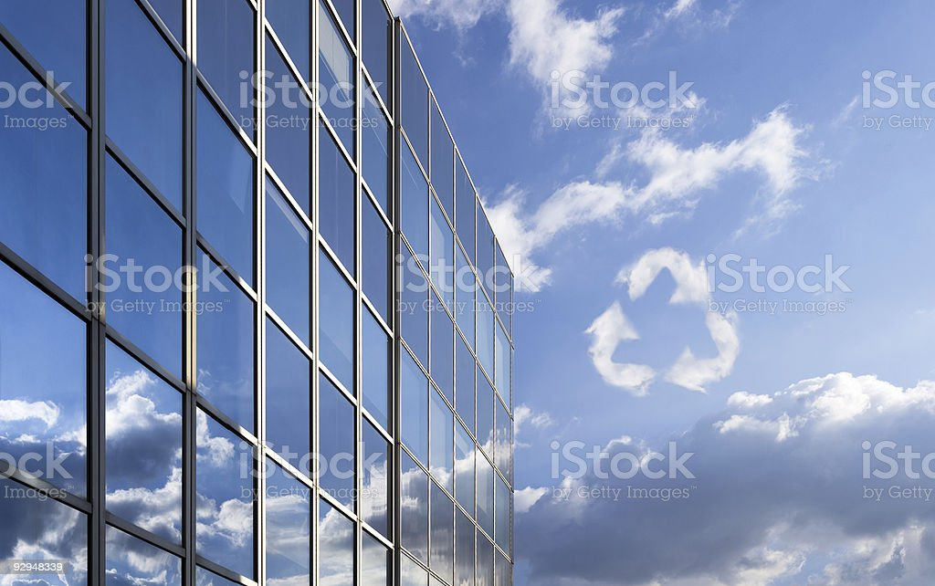 Glass windows of an environmental and corporate building stock photo