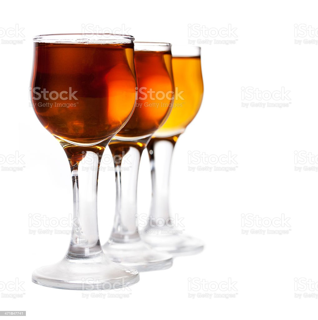 glass wine made from honey vodka isolated on white background stock photo