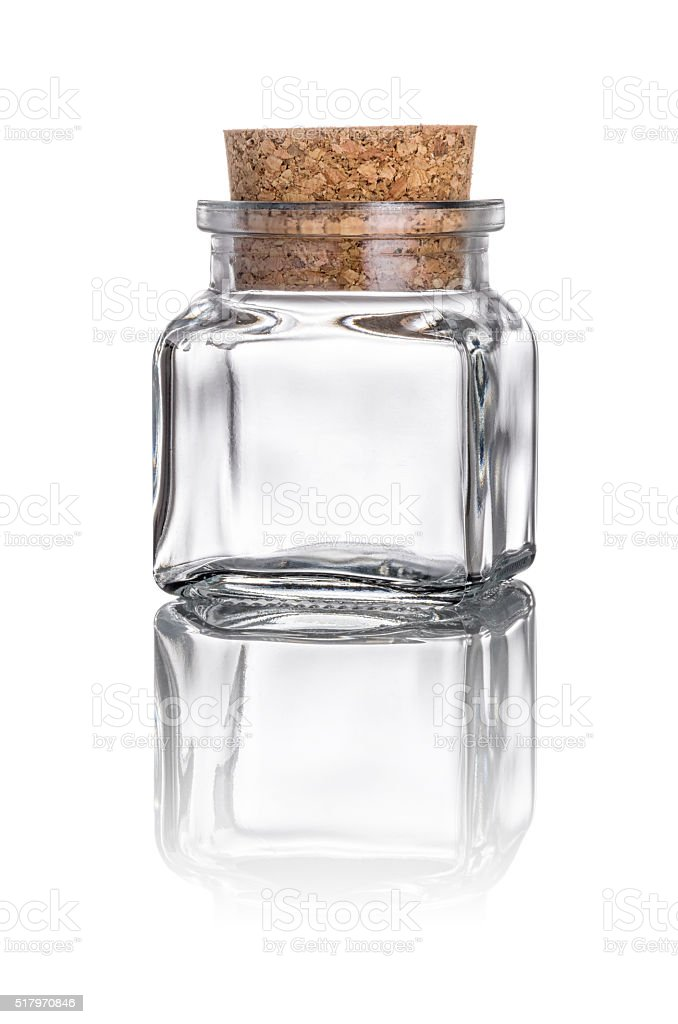 Glass with a stopper on a white background stock photo