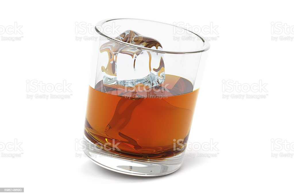 Glass with alcohol drink and ice, 3D rendering stock photo