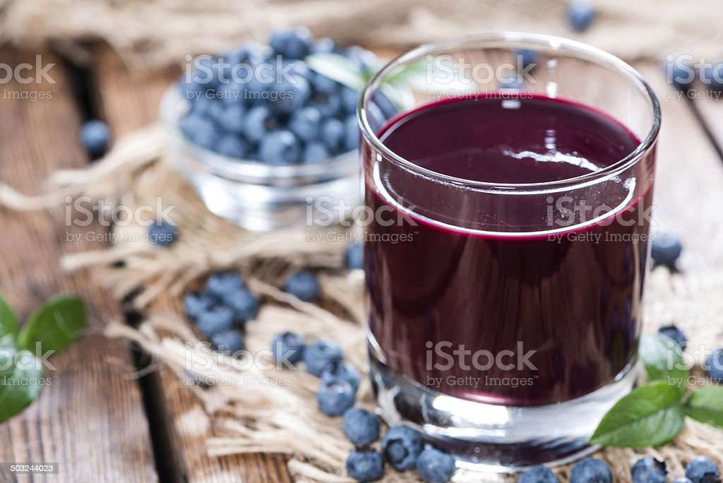 Glass with Blueberry Juice stock photo