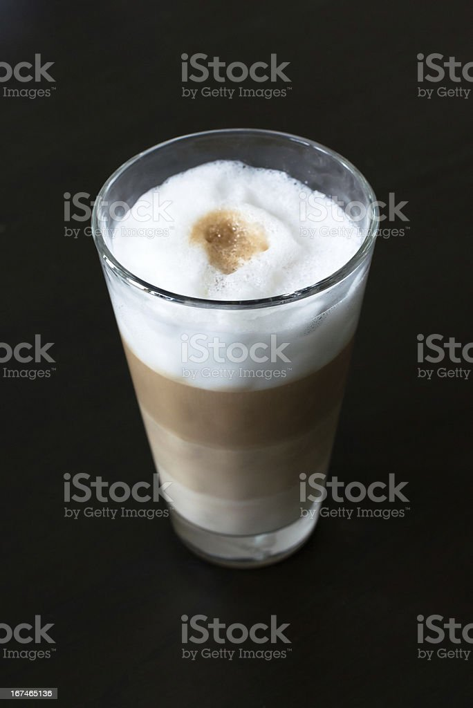 Glass with classic latte coffee royalty-free stock photo