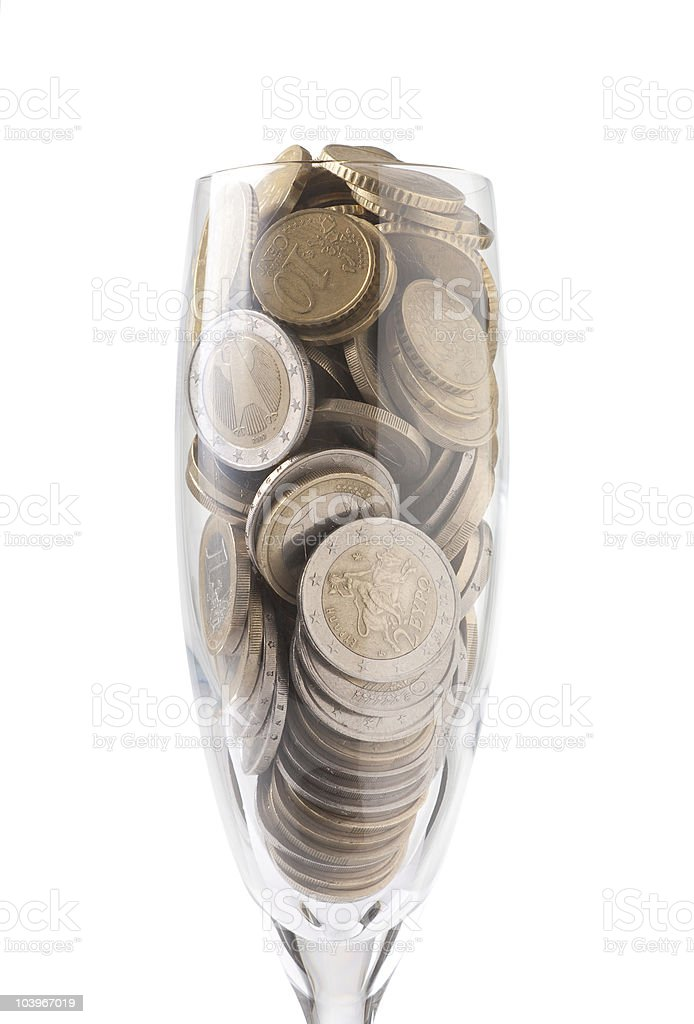 Glass with Money stock photo