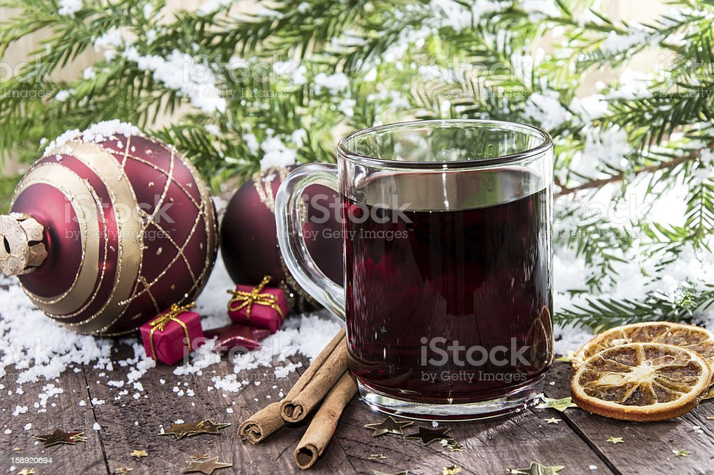Glass with mulled wine royalty-free stock photo