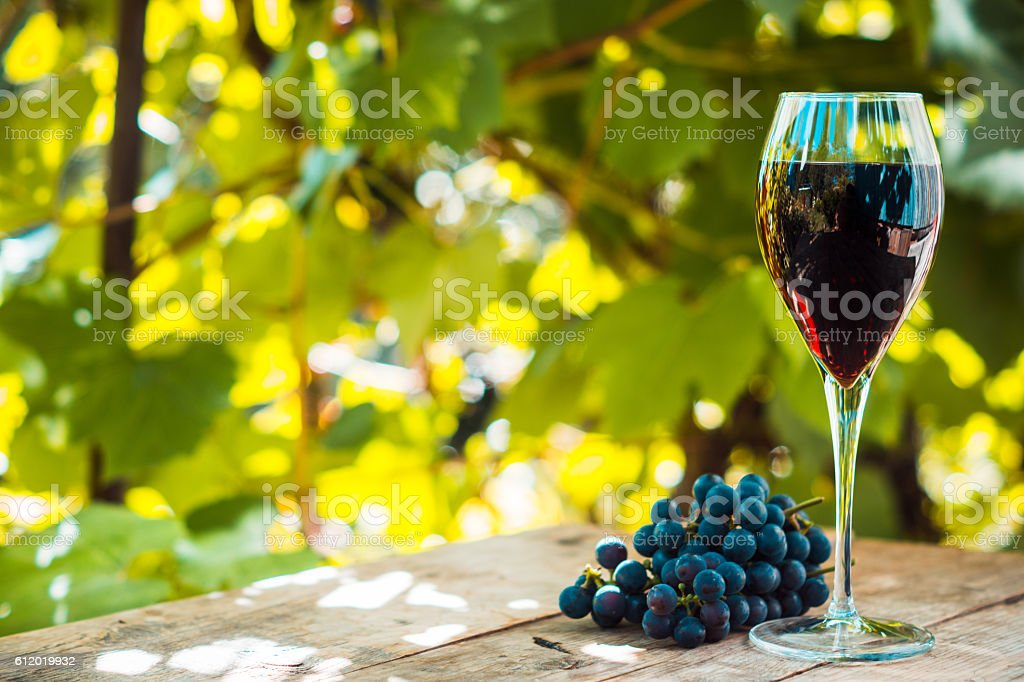 Glass with red wine on the wooden table stock photo