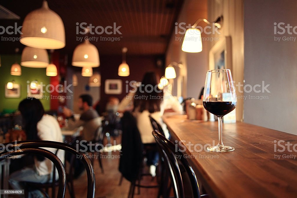 glass with red wine, tasting, restaurant stock photo