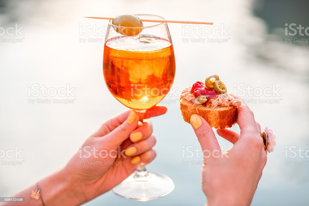 Glass with Spritz Aperol alcohol drink stock photo