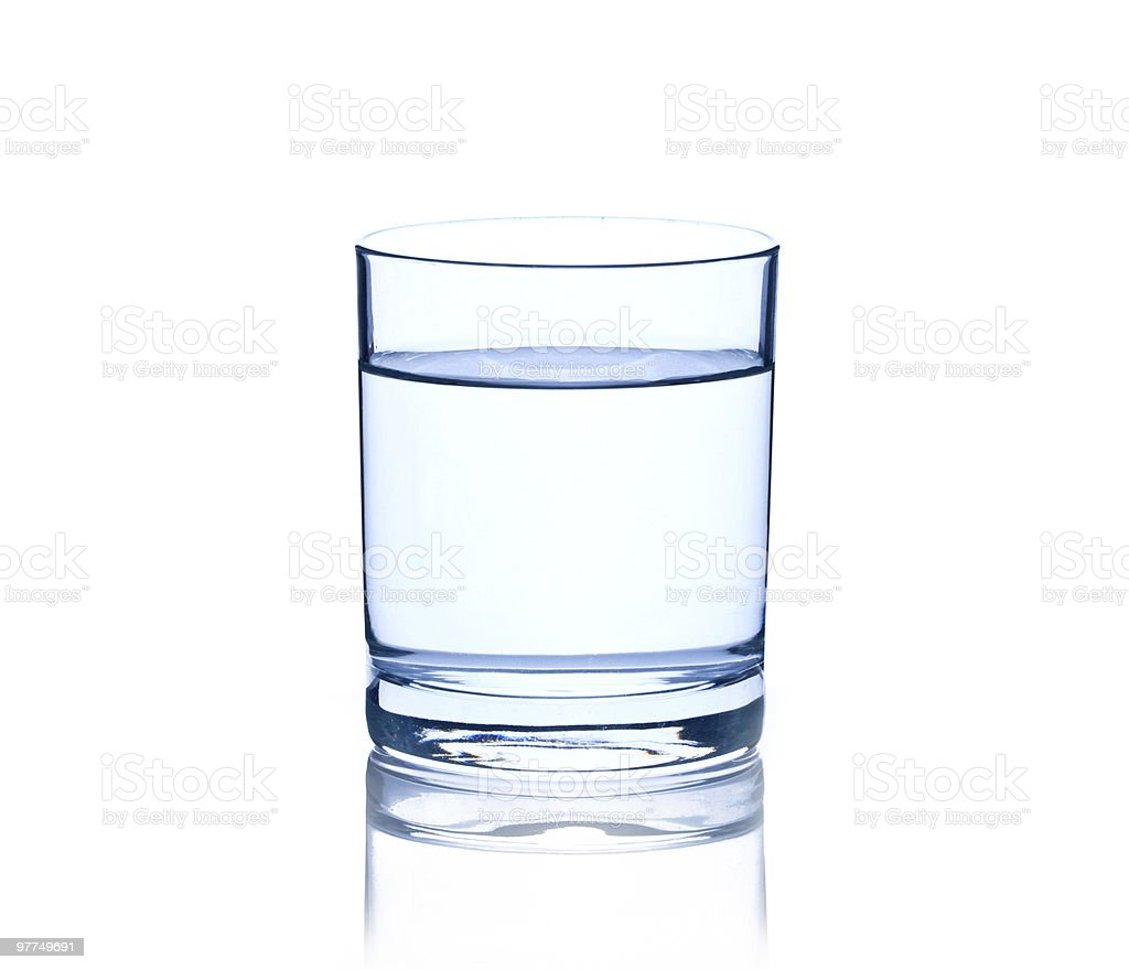 glass with water isolated on white stock photo