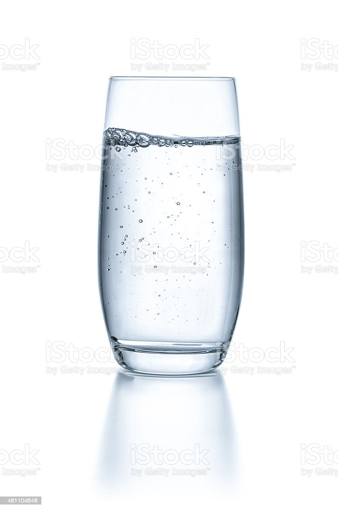 Glass with water on a white background stock photo