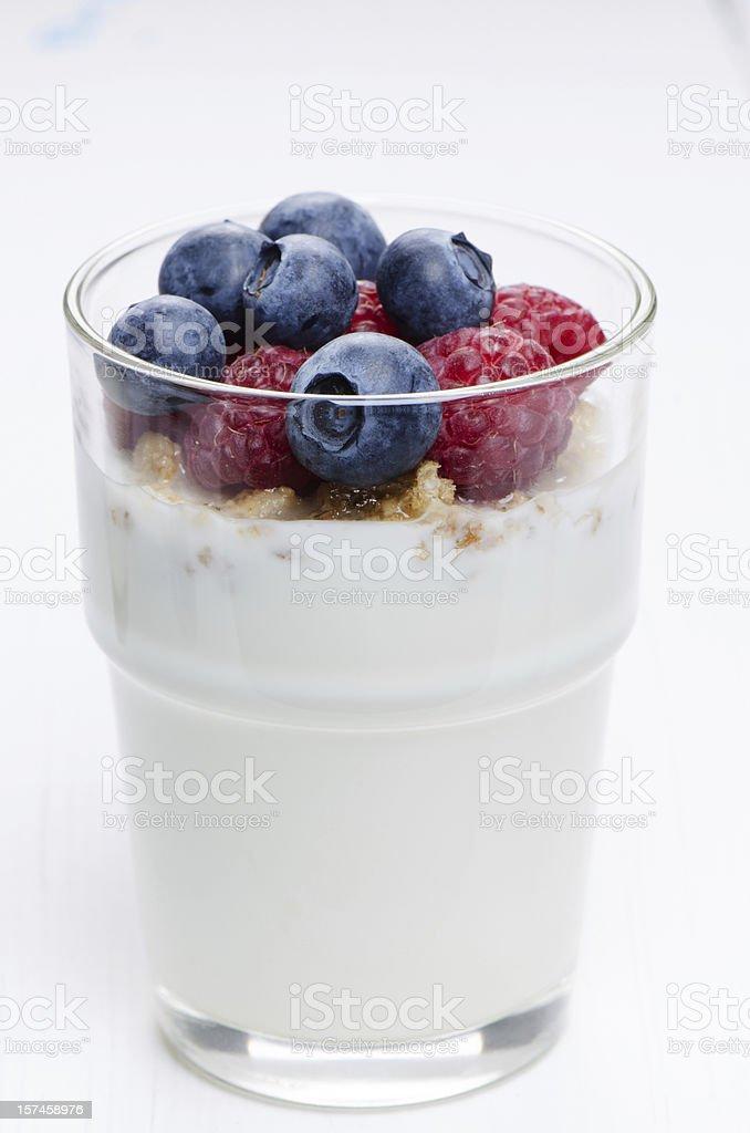 Glass with yogurt stock photo