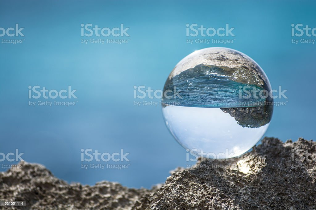 Glassball  at Mediterranean  Sea stock photo