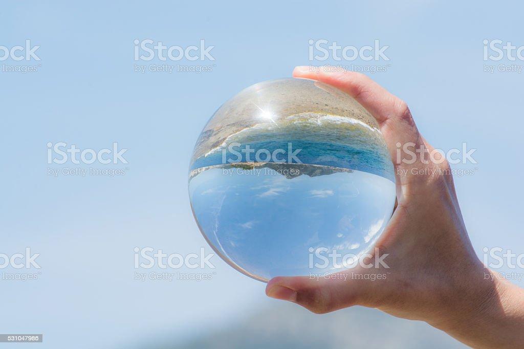 Glassball in Hand stock photo