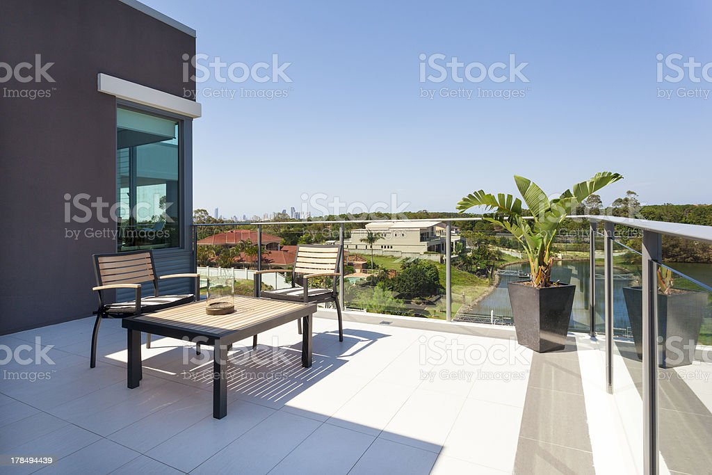 Glassed in balcony, overlooking gorgeous view  stock photo